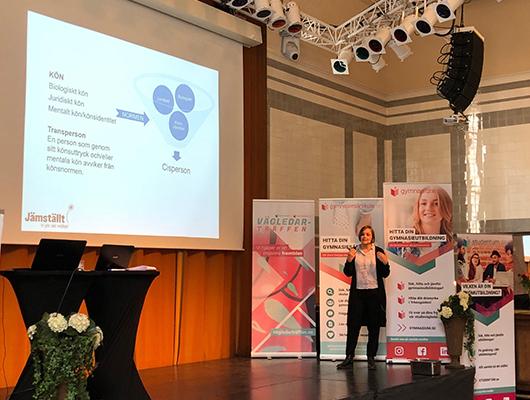 Jämställt - Jämställt engagerade besökarna i sin föreläsning och normkritik och värdegrundsarbete i skolan. Under föreläsningens gång fick besökarna svara på frågor, göra övningar och diskutera normer, fördomar och inkludering. Jämställt var även med och föreläste på Vägledarträffarna i Malmö och Göteborg.