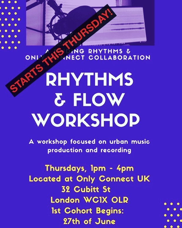 """There are still a few spaces available for the """"Rhythms & Flow"""" workshop beginning this Thursday. For more information or a referral, reach out to Tim at timothy.titsworth@onlyconnectuk.org"""