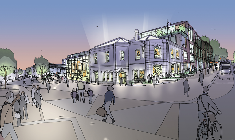 artist's impression of proposed station approach redevelopment Image : WCC
