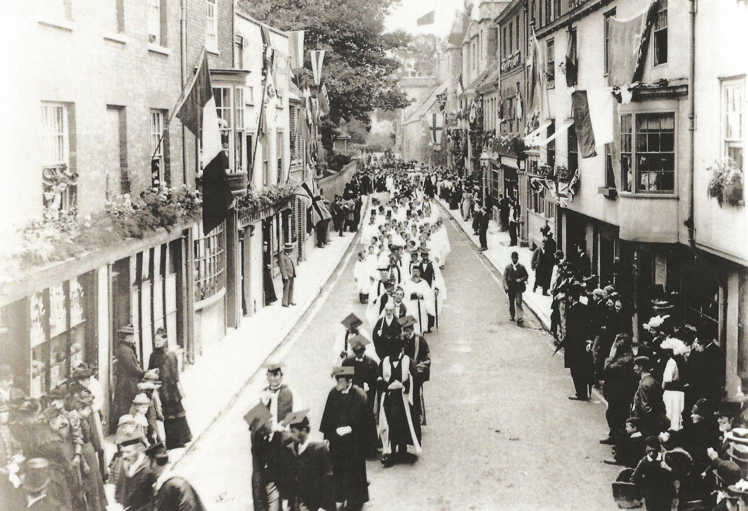 procession in college street 1894