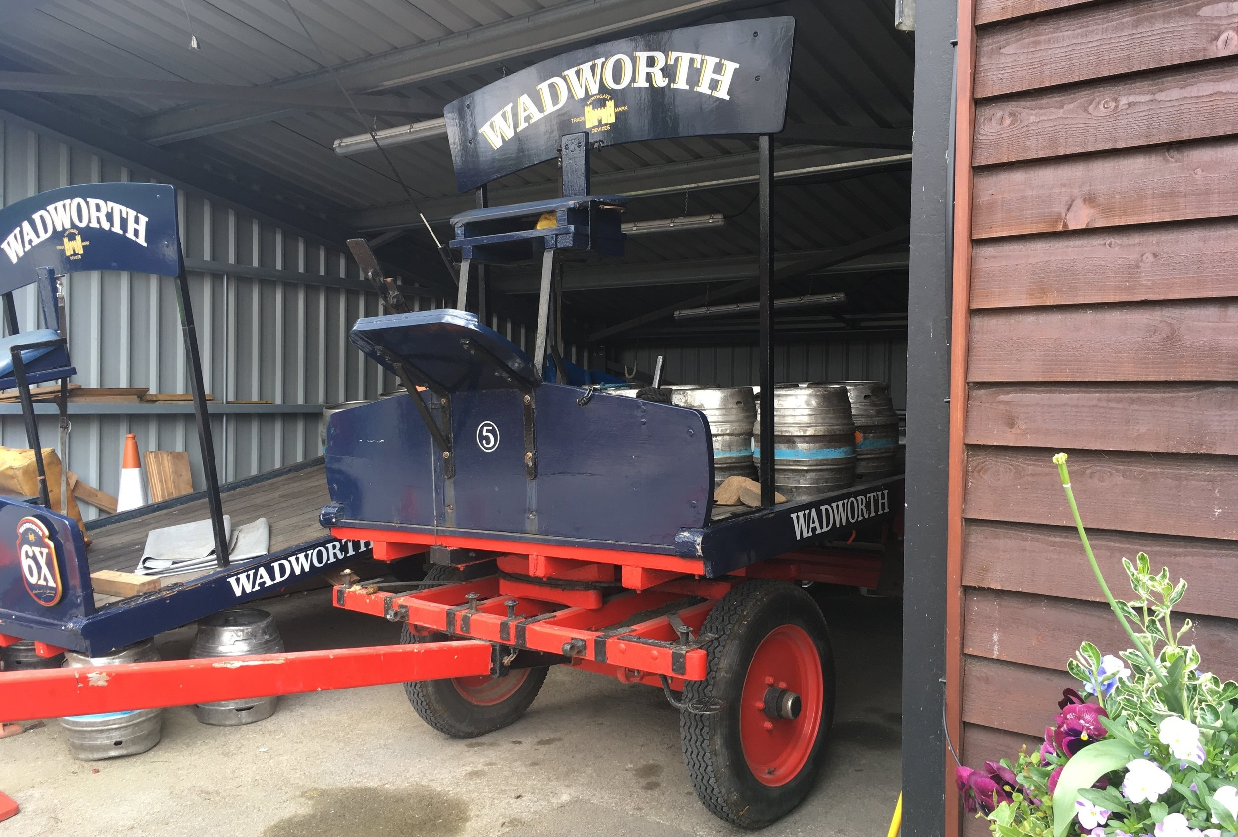 shire horse-drawn Dray still used at Wadworth's to deliver its beers around the town