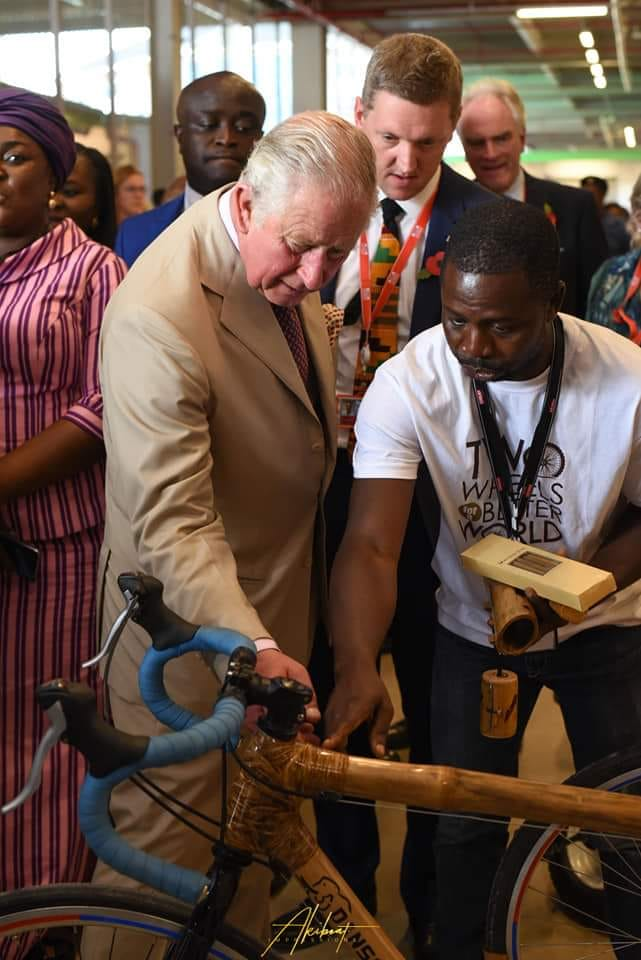 Prince Charles admires a Booomers bamboo bikes
