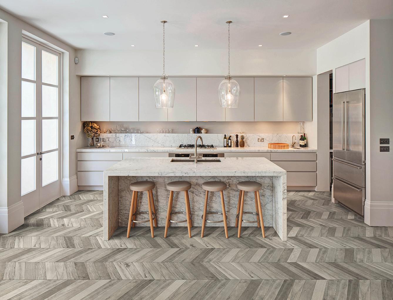 Chevron Wood Grey Porcelain Floor Tiles