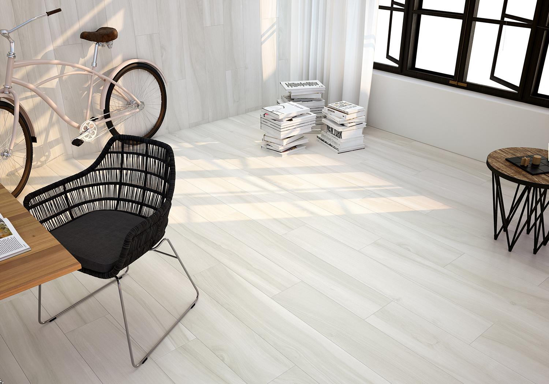 Project White Matt Porcelain Wood Effect Tiles