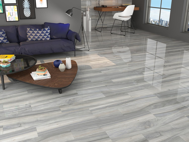Time Grey Polished Porcelain Wood Effect Tiles