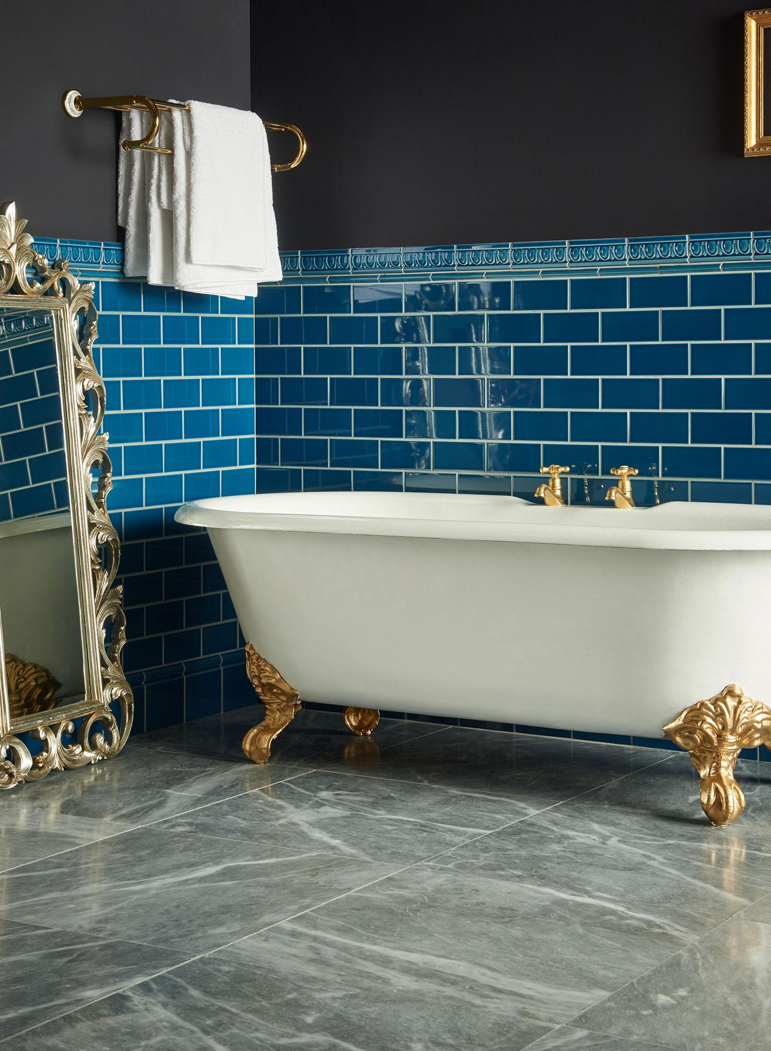 Artworks Baroque Blue Ceramic Tiles with Earthworks Castel Marble