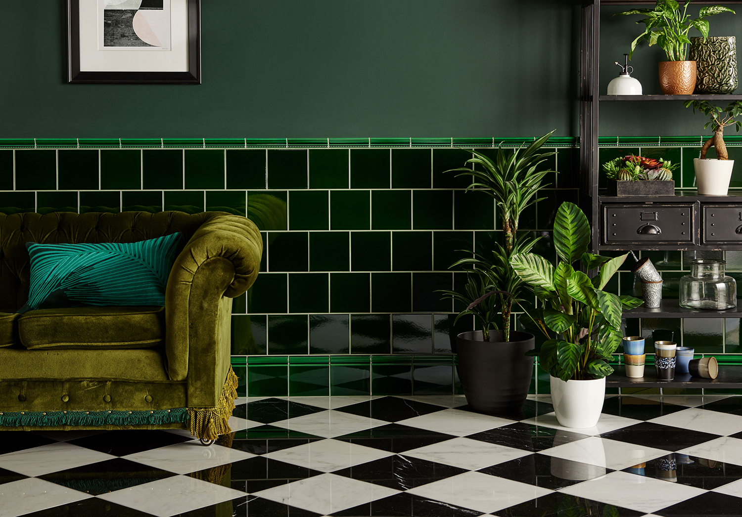 Artworks Victorian Green Ceramic Tiles with Earthworks Marble Floor Tiles