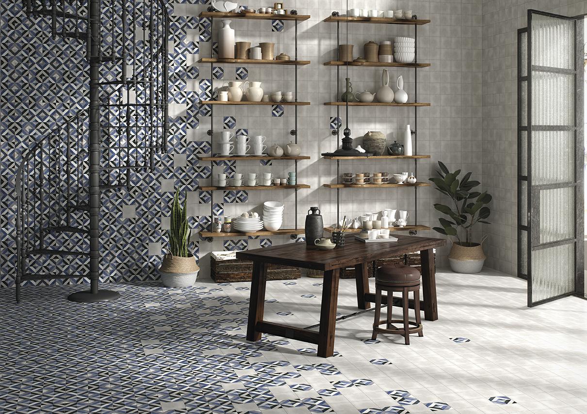 Fleur Grey & Geraldine Matt Patterned Porcelain Tiles