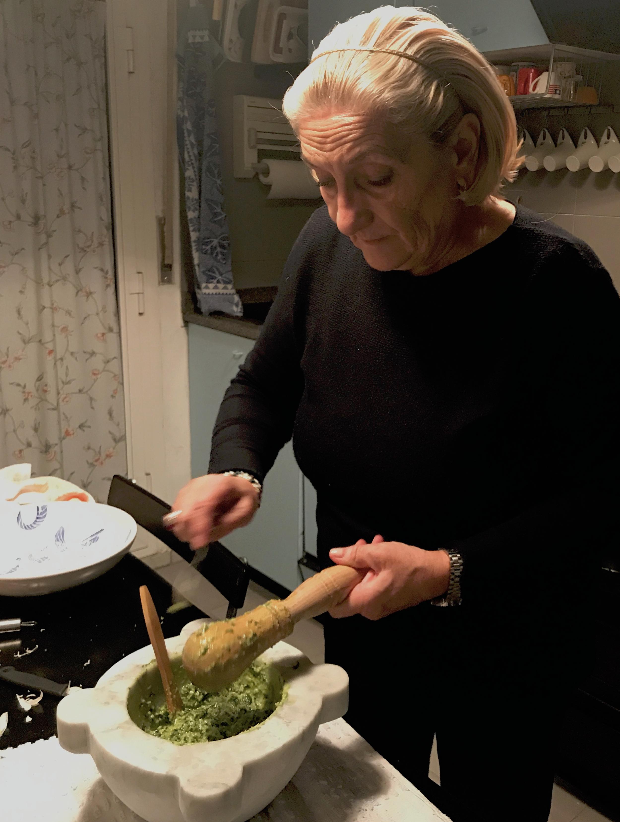 Making pesto in my kitchen in Milan