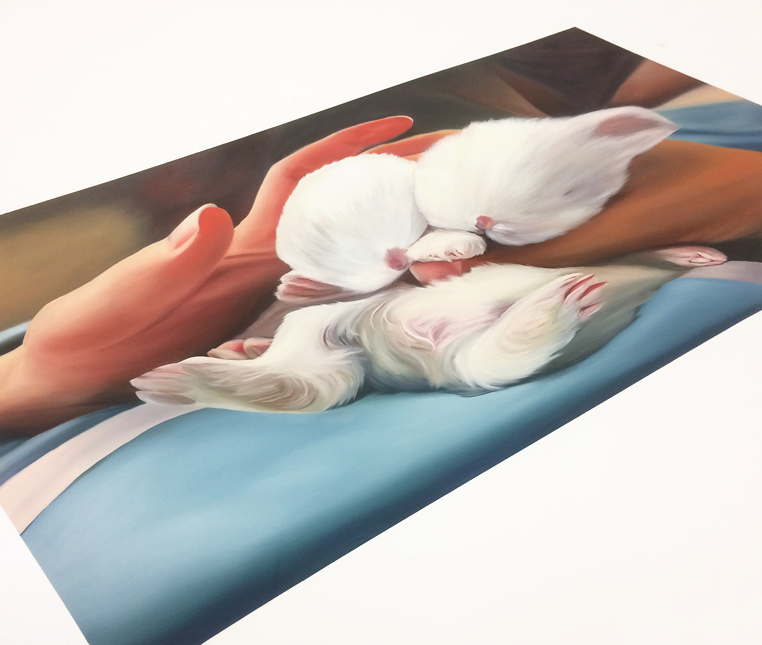 """Chill Out with Baby Bunnies, 4,  2017  Oil on canvas  60"""" x 72"""""""