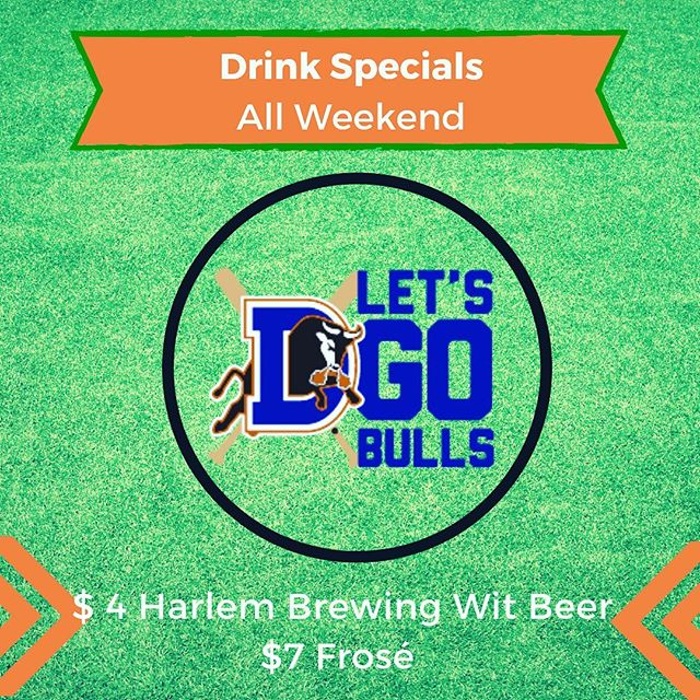 The hurricane has passed. The @durhambulls are back at it tonight in the Minor League Baseball playoffs. The weather is fantastic and we have frosé and wit beer on special. Get yourself to our patio this weekend! Outside food is always welcome at Bull City Mini and @wonderpuff artisanal cotton candy now available right next door is especially welcome 🥳⚾️⛳️🍻🍷🥂🎇