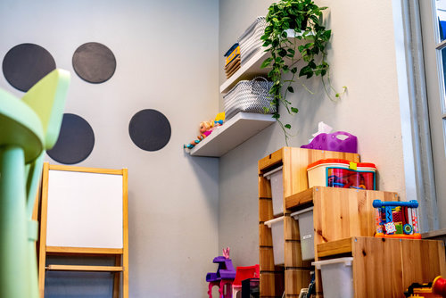 Daycare Room - SWEAT yoga studio has a special space designed with your children in mind. Our childcare room is a cozy spot that helps children feel safe and is bright and well-lit. Children must be at least six months old & sit independently. Childcare is free to members or $10/per child for non-members. It opens fifteen minutes before yoga classes and closes fifteen minutes after class yoga classes. Children must be picked up on time.