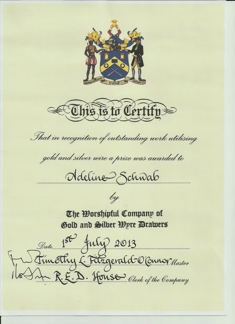 Royal School of Needlework - Diplômes d'école