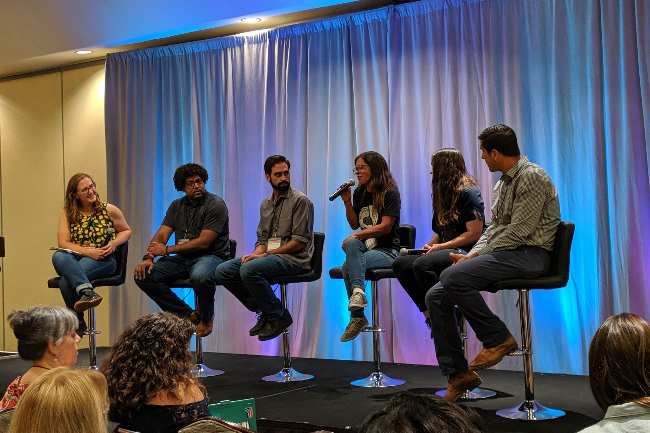From left to right: Kate Radosevic of Local First Arizona Foundation, Stephen Jones of the larder + the delta, John Panza of BiGA by SENSES, Shanti Rade of Whipstone Farm, Tamara Stanger of Cotton & Copper, and Todd Hanley of Hotel Congress and Maynards Market & Kitchen.