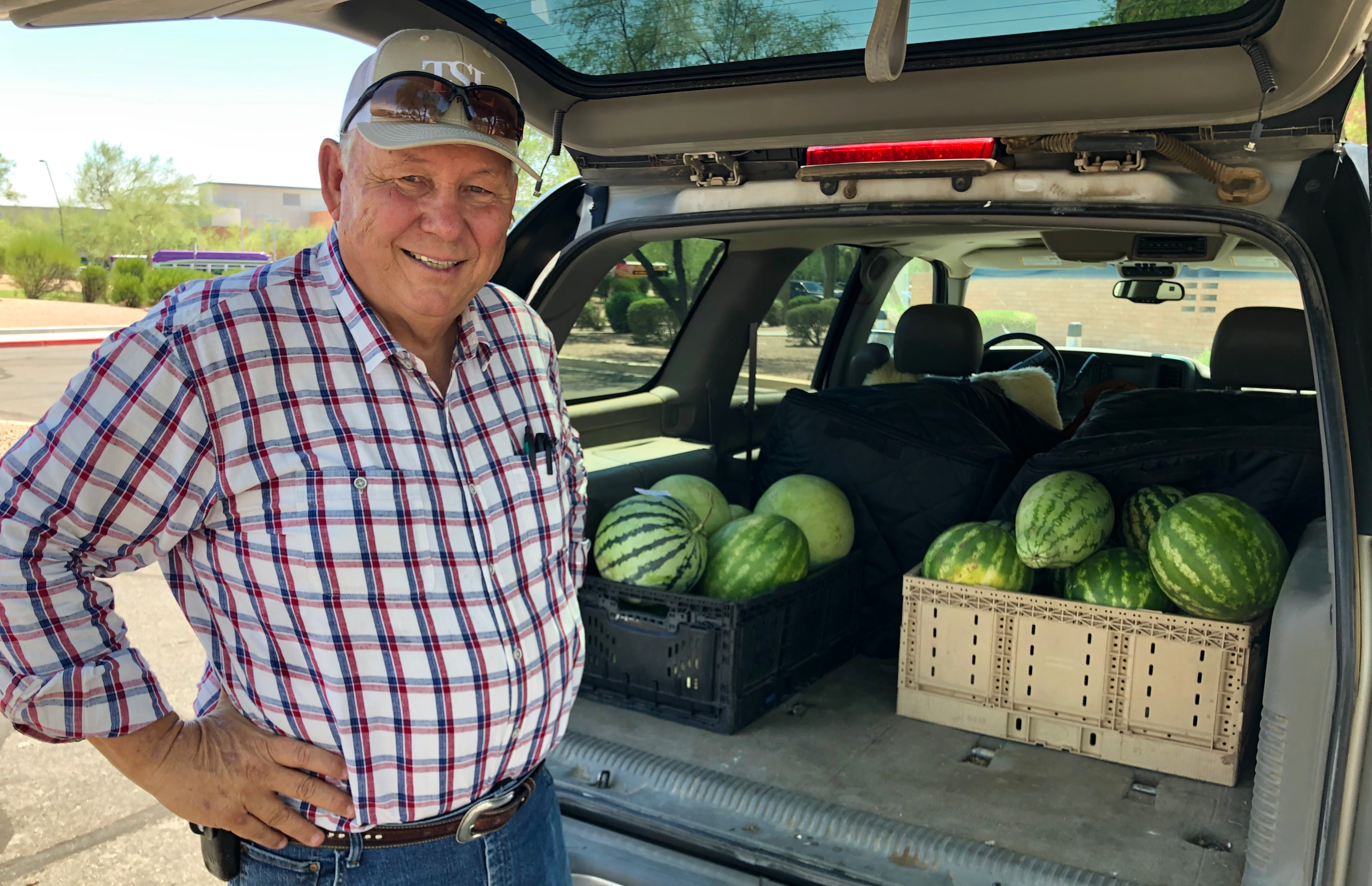 Sun Produce Vice-President Dave Brady, of Bar-B-Produce, rounds up the summer watermelons for delivery to the Town of Gilbert.