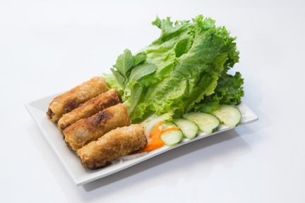 Fried Spring Rolls - Ground pork, chicken, vermicelli, onions, carrots and taro, wrapped in rice paper, served with lettuce, mint leaves, and house fish sauce. (Menu Item 1)