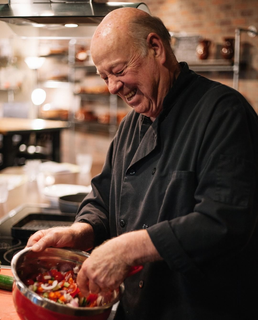 Chef Bob Black preparing for his cooking class.