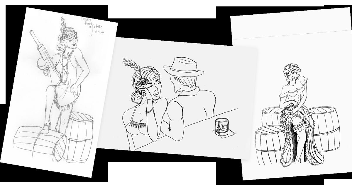 Prohibition-EJuice_Sketches_Packaging-Design_Print-Design_Dreamcapture_Memphis-TN