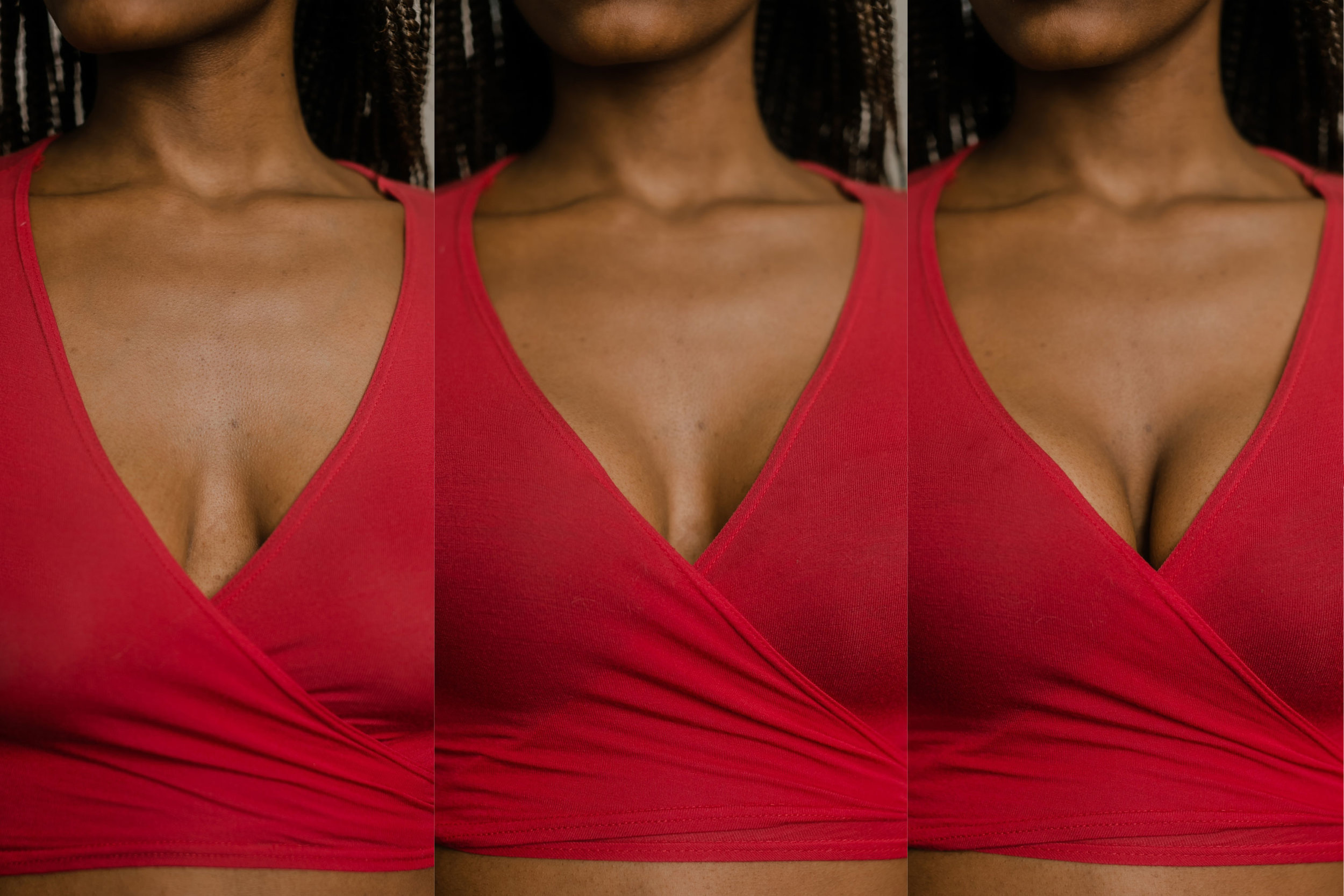 Left: No bra // Middle: With bra, separated cleavage // Right: With bra, normal cleavage