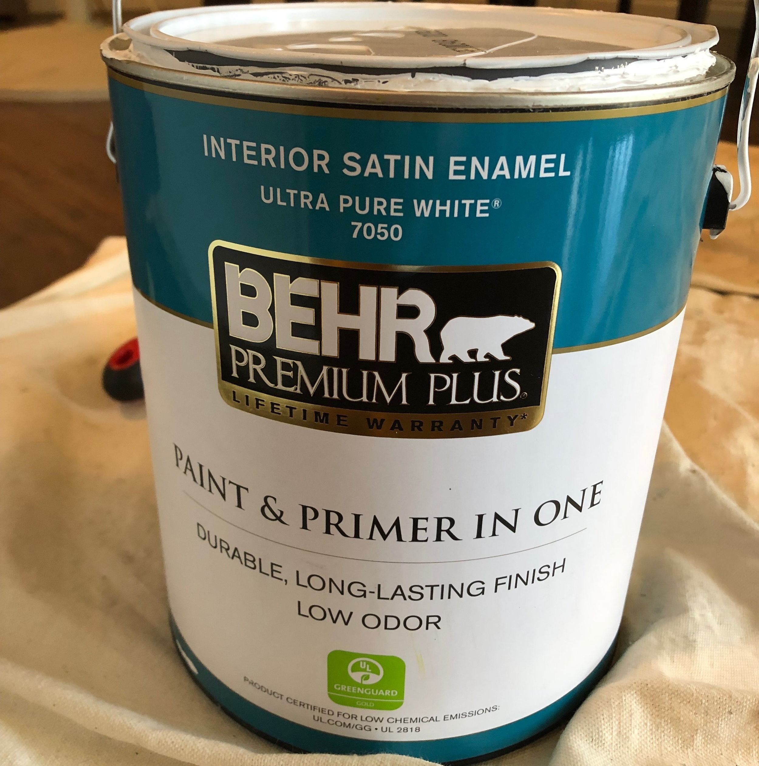 """I went with the    BEHR Paint & Primer    in the color """"Ultra Pure White"""". It's low odor and dries super fast. $30."""