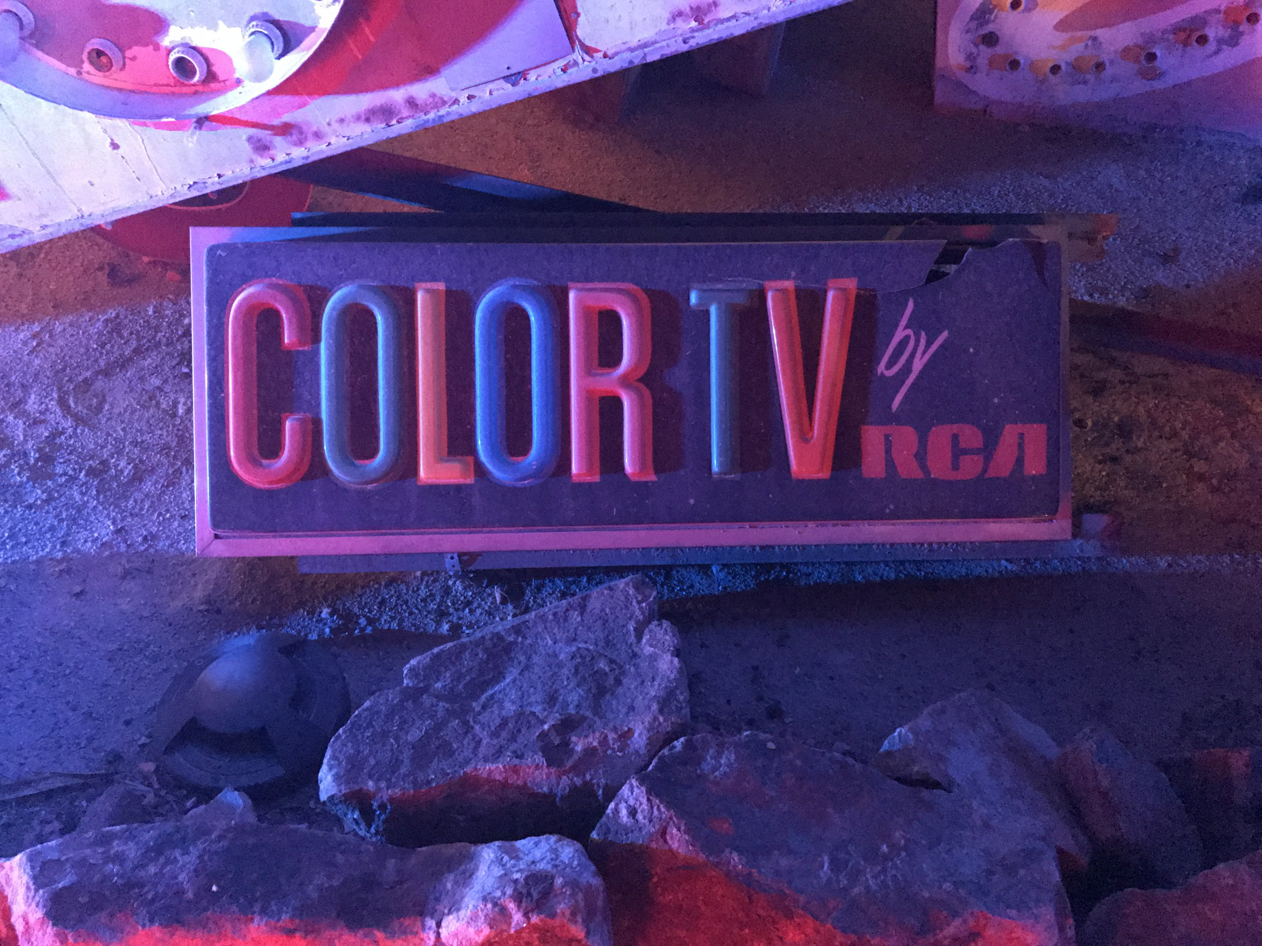 neon museum color tv sign las vegas ghost town