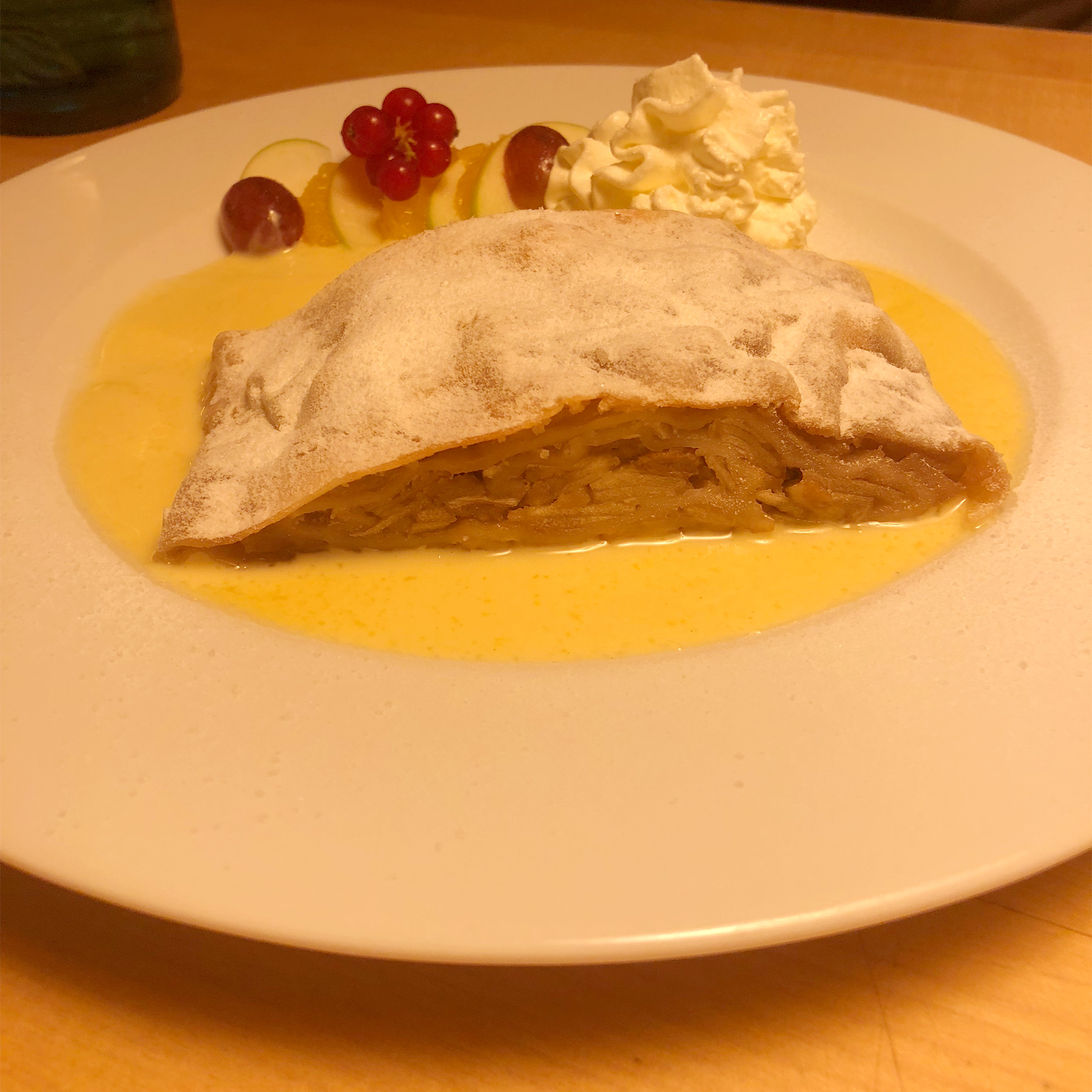 tender and creamy warm apple strudel