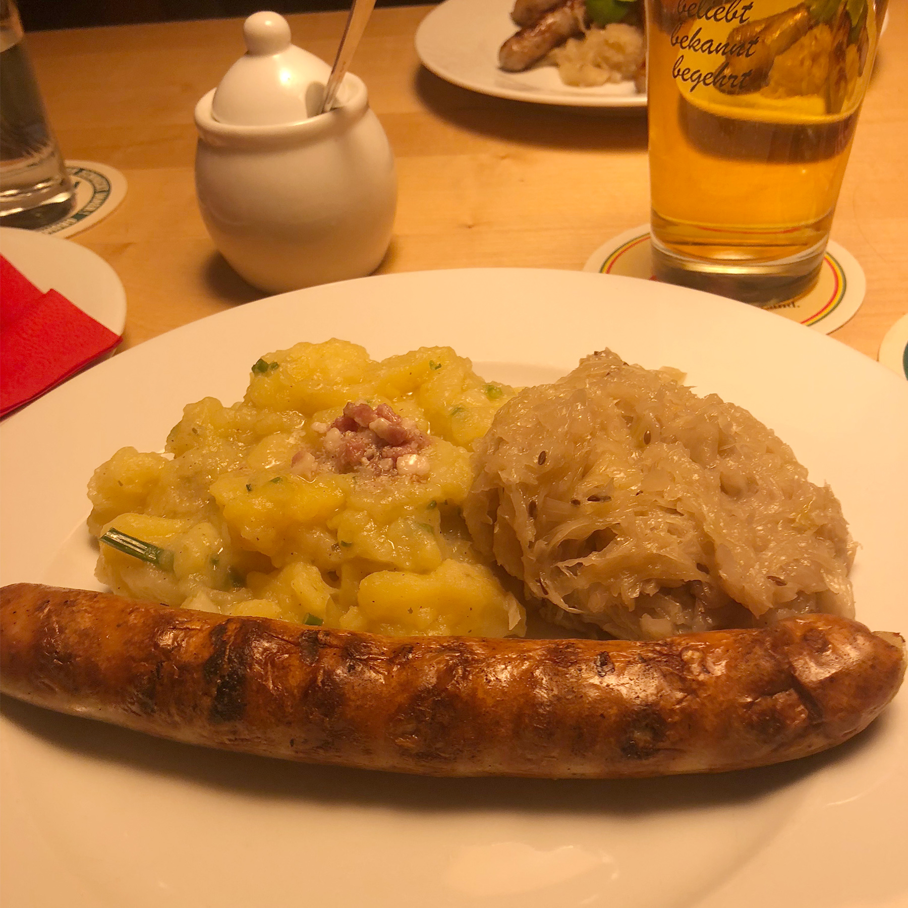 obigatory delicious bratwurst and sauerkraut