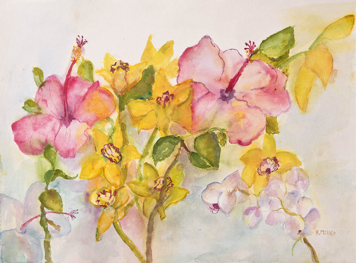 Pink Hibiscus with Orchids