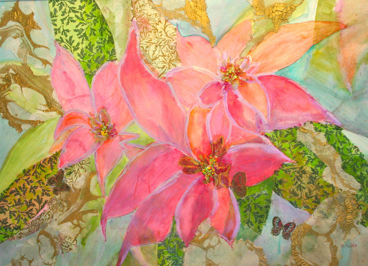 Pink Poinsettias with Butterfly
