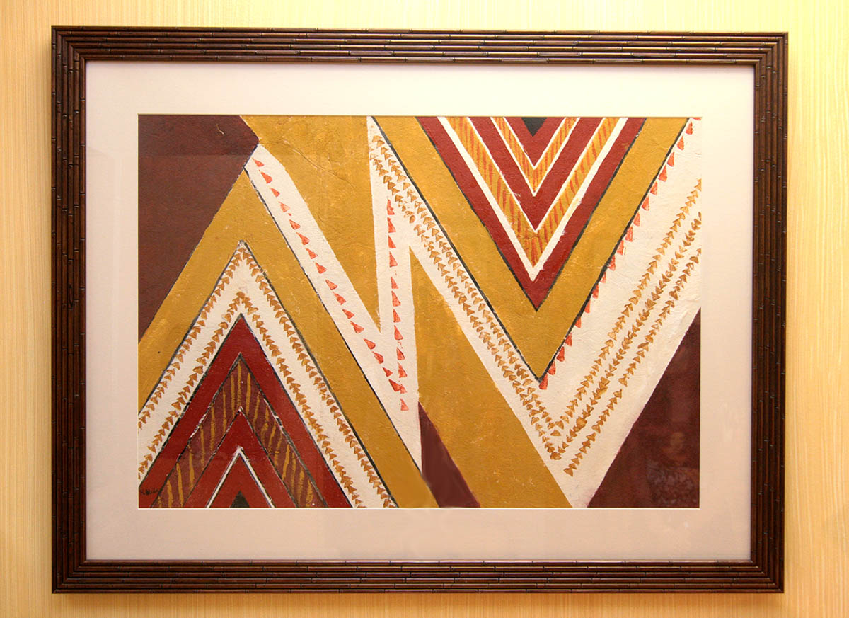 Kapa 7 (Example Framed Tapa; Geometric Painting Only)