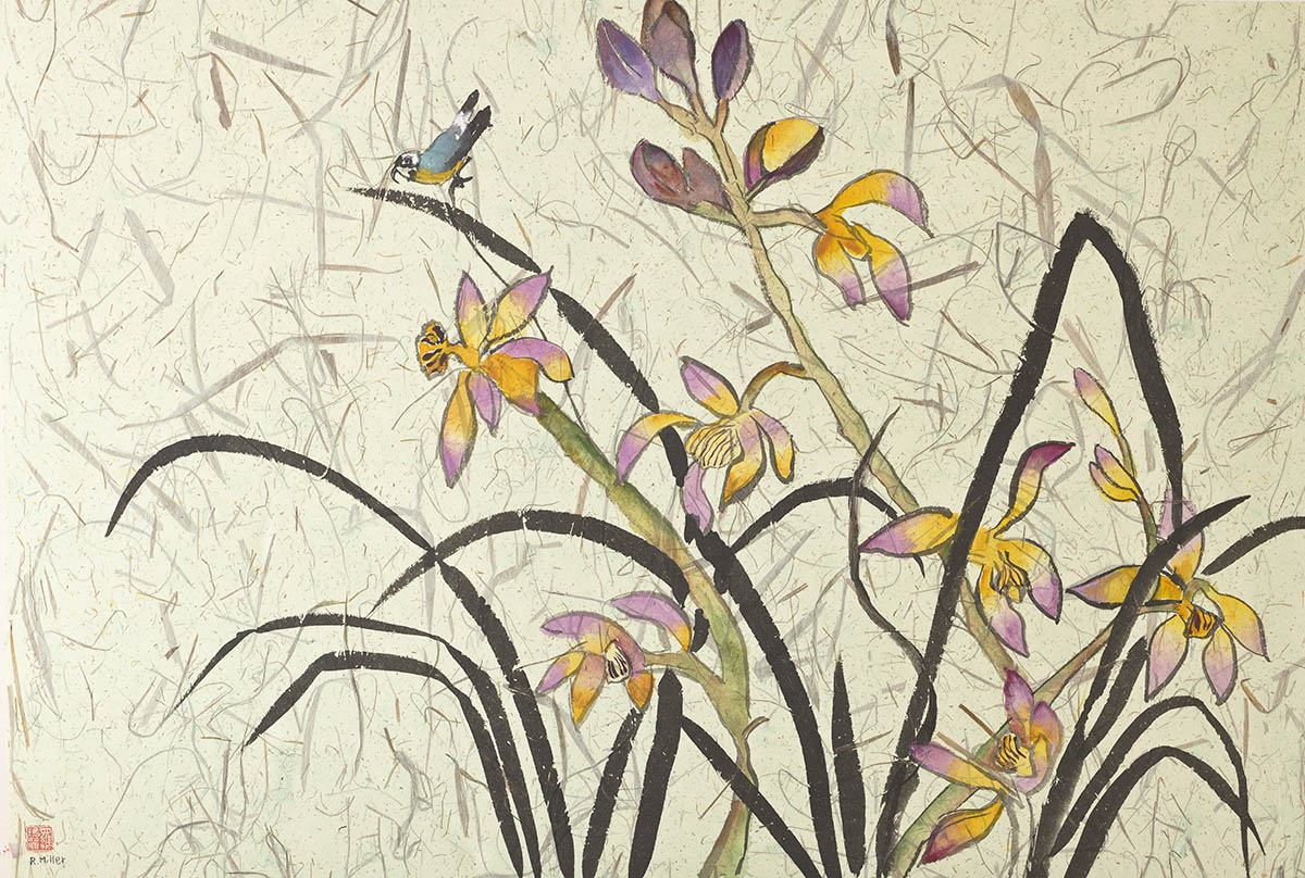 Purple Orchids with Bird