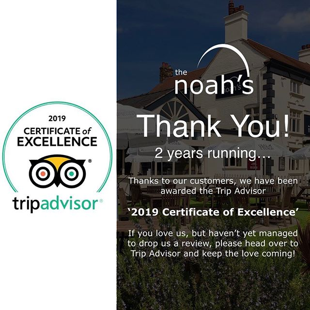 2 years running... we are so pleased to have received the 'Certificate Of Excellence' for 2019 from Trip Advisor. Thank You from all the team! We ♥️ you all! #noahsbaruk #TripAdvisor #Review #StokeOnTrent