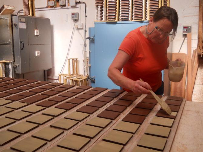 """Alison """"slipping"""" terracotta tiles"""