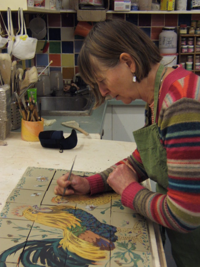 Ann working on a mural – murals can be ordered in any size. The whole process takes three weeks from start to dispatch.