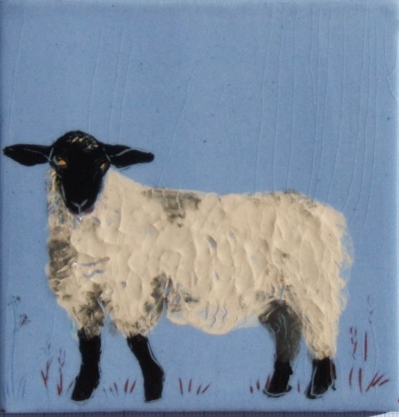 Black-face ewe on delphinium background - These can be on cream or ivory slip background or any of our slip colors, like this little black-face sheep.