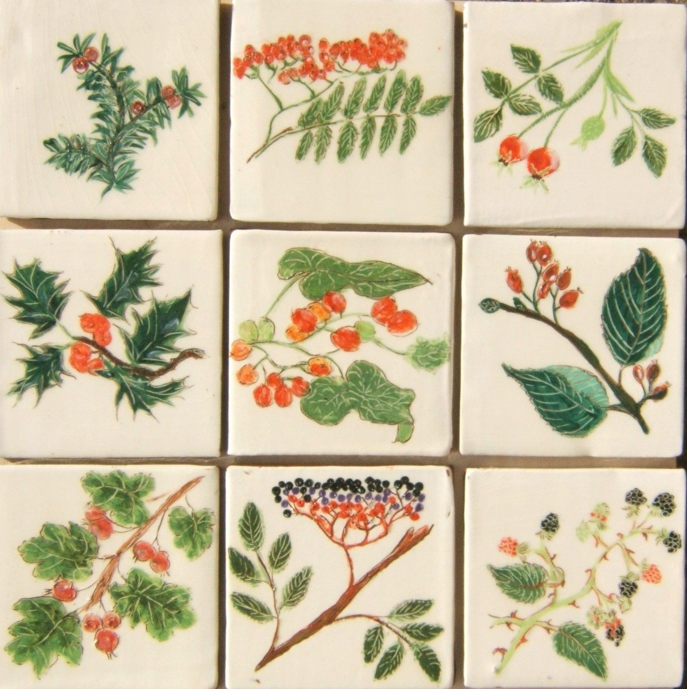 Red and wild - Nine tiles, designed and drawn by Monica, featuring hedgerow berries. Nice if you want a touch of red in the kitchen, we make these on cream or ivory background. Top: yew, rowan,rose; middle: holly, bryony, whitebeam, bottom: hawthorn, elder, bramble.