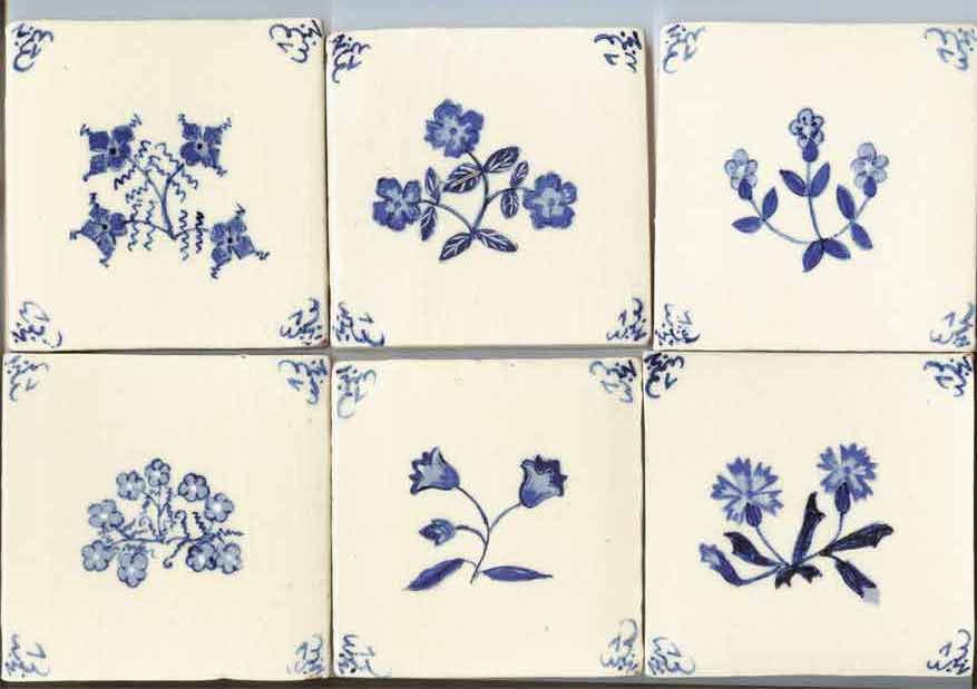 """Medieval flowers - Delft style medieval flowers, design by Monica using a subtle range of blues. Six designs on cream or ivory background. These and the British wildlife tiles shown below, have our """"Pops squiggle"""" corners, another design unique to Chantecler."""