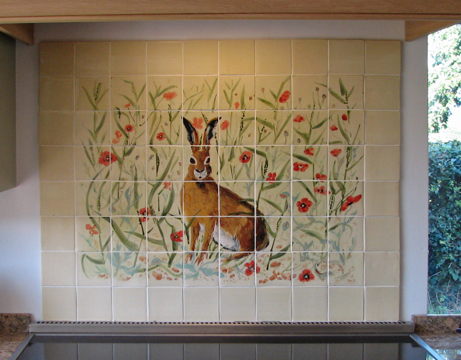 The hare in the wheat field with poppies - Sizes and designs may be varied to suit each client. All the tiles are our own 100mm.