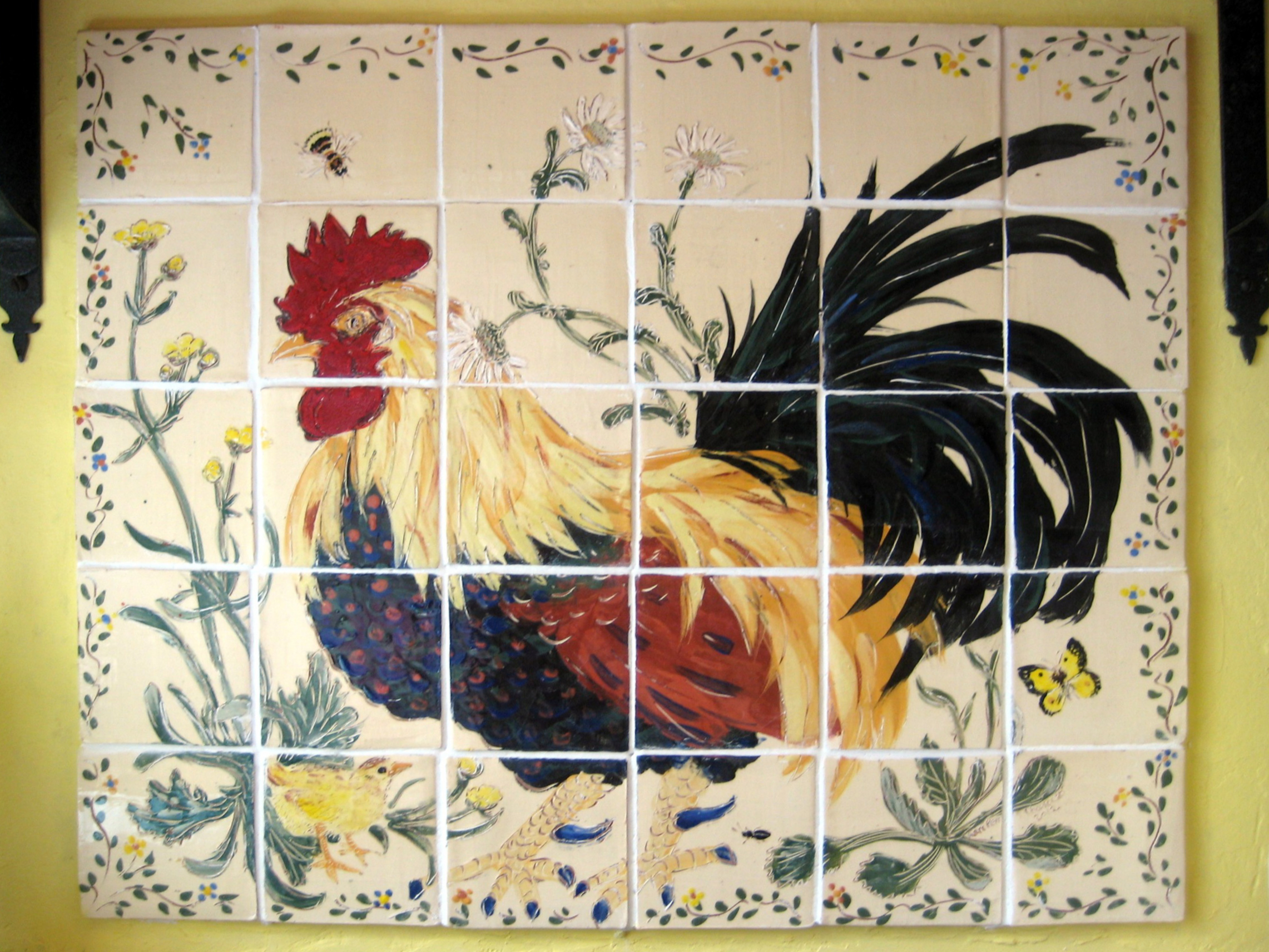 All alone in his flower meadow, brooding in the buttercups - Murals featuring big, bold cockerels and hens are our trademark. These may be on a cream or white background, with or without buttercups, daisies, or nettles.