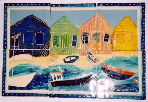 Beach huts and boats - From our Sea Shanty range.