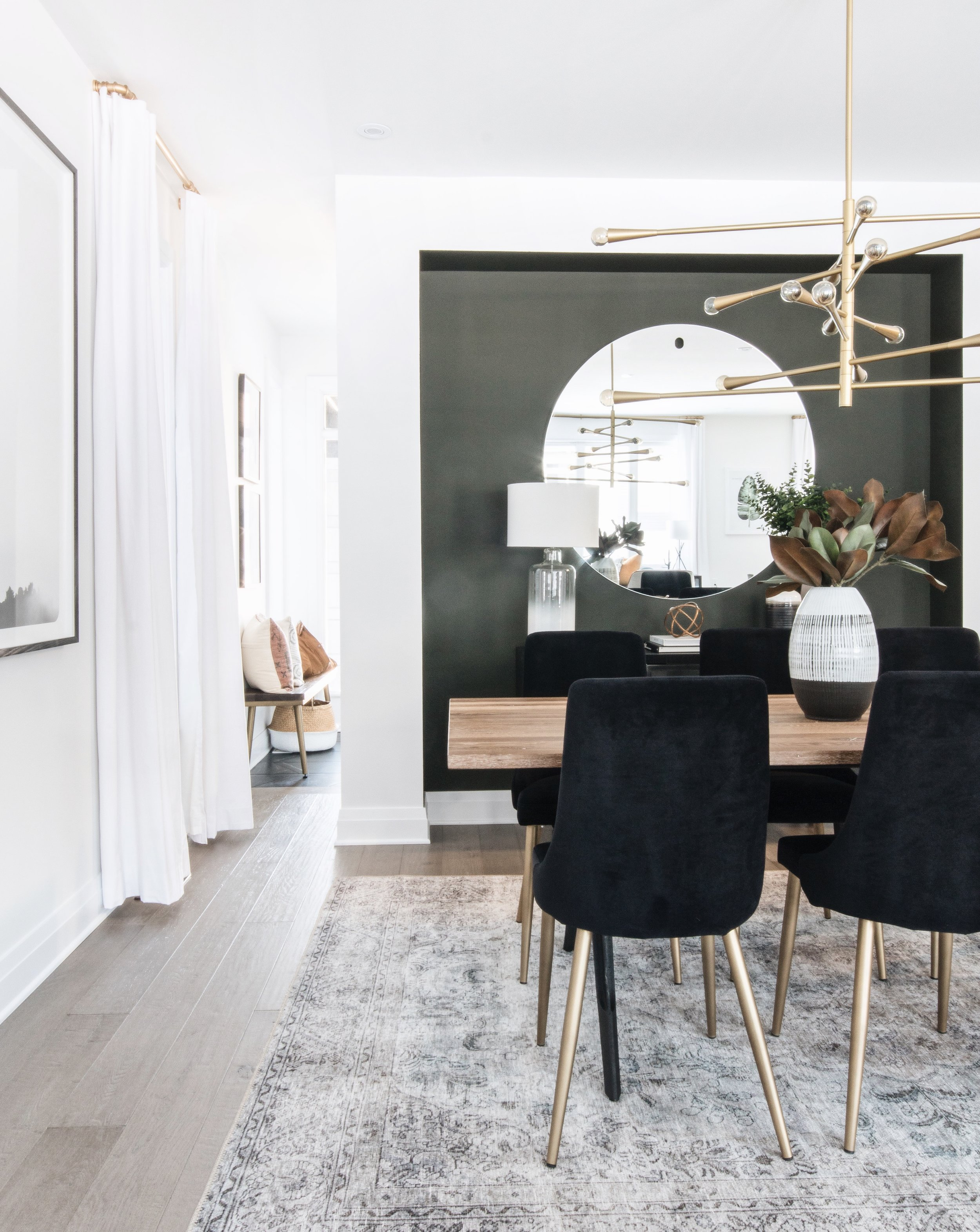 Statement accent wall in the formal dining space by Ottawa based interior design firm Leclair Decor. How to make an accent wall with paint.