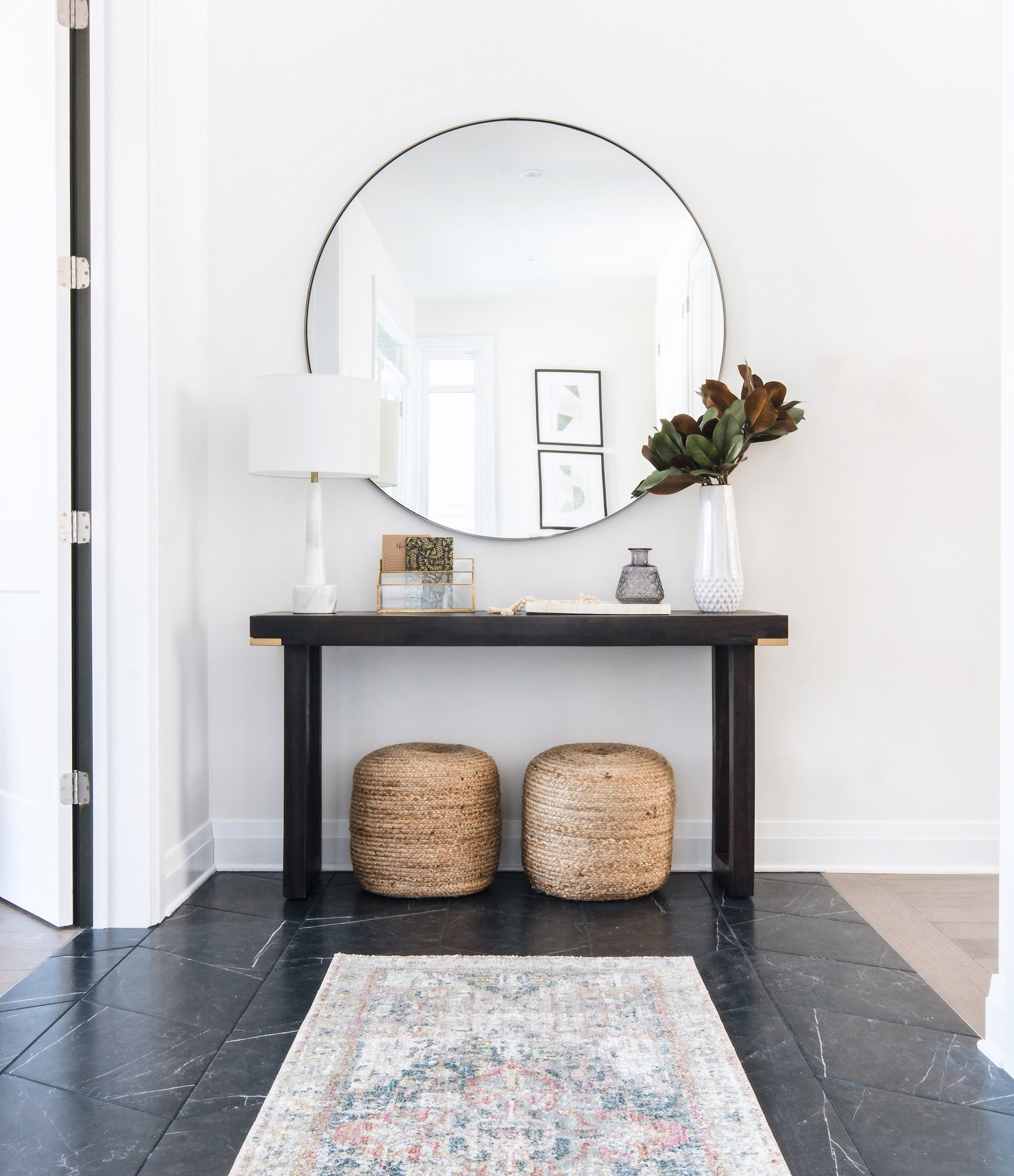 Cedarbreeze Project   | Shop the look:     Glen Mirror  ,     Faux Southern Magnolia  ,     Diya Short Vase  ,     Anastasia Ivory/Multi Runner