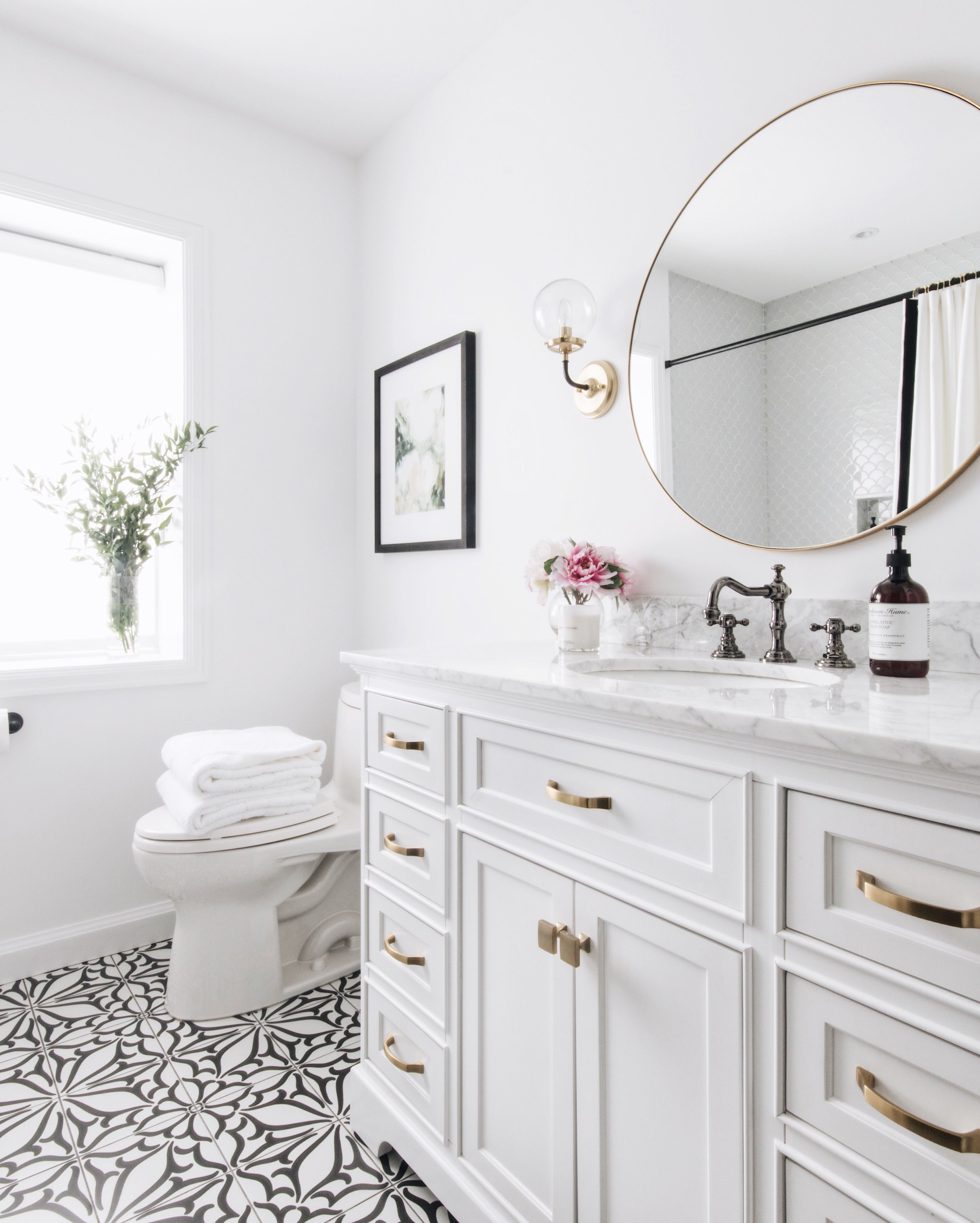 Funky Tile Farmhouse Style Powder Room Design by Ottawa Interior Design Firm Leclair Decor