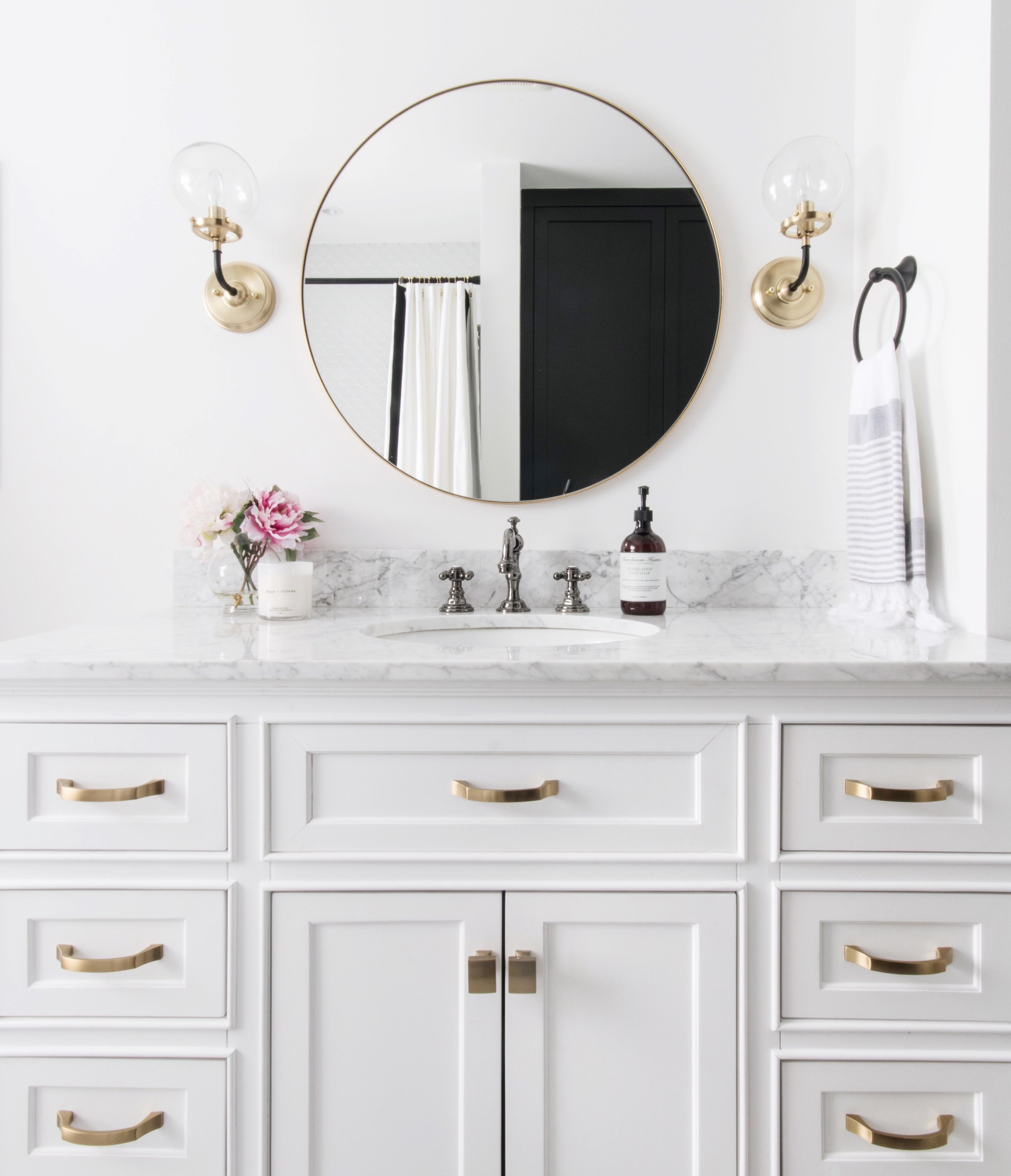 How-to style a powder room or master ensuite. Funky Tile Farmhouse Style Powder Room Design by Ottawa Interior Design Firm Leclair Decor