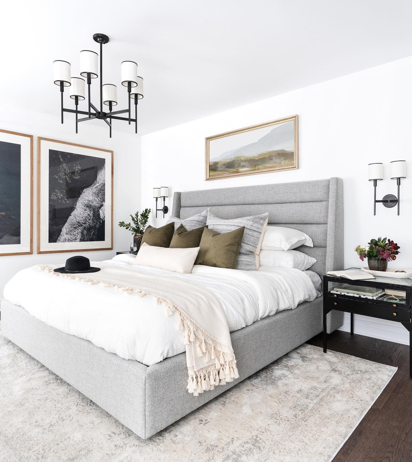 Shop the master bedroom |   Elgin Bed  ,   Abbey Double Wall Sconce  ,   Coyman Side Table  ,     Ariana Lumbar Pillow