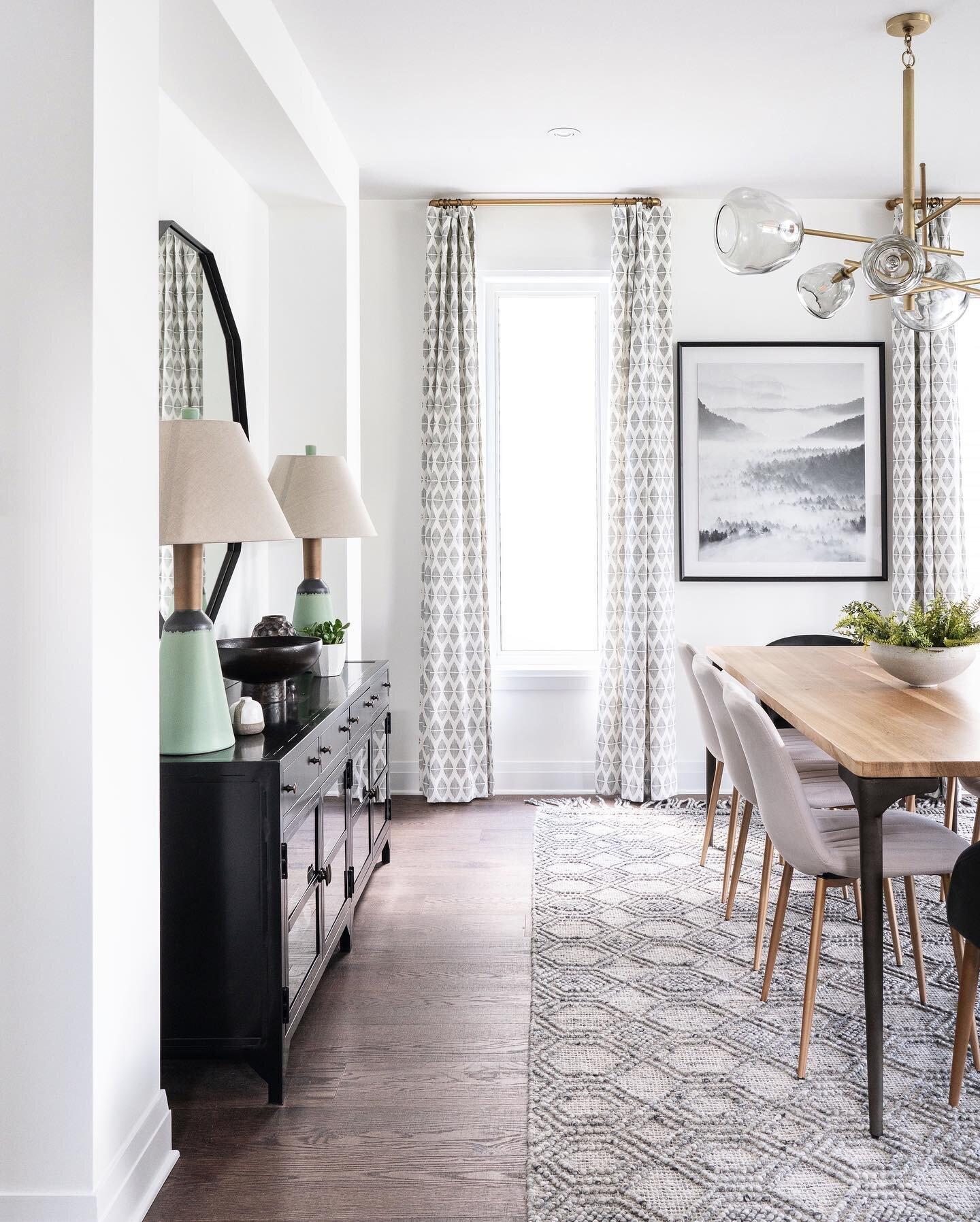 Shop the dining room |   Coyman Console Table  ,   Tia Mirror  ,   Carol Table Lamp  ,   Holloway Grey Rug