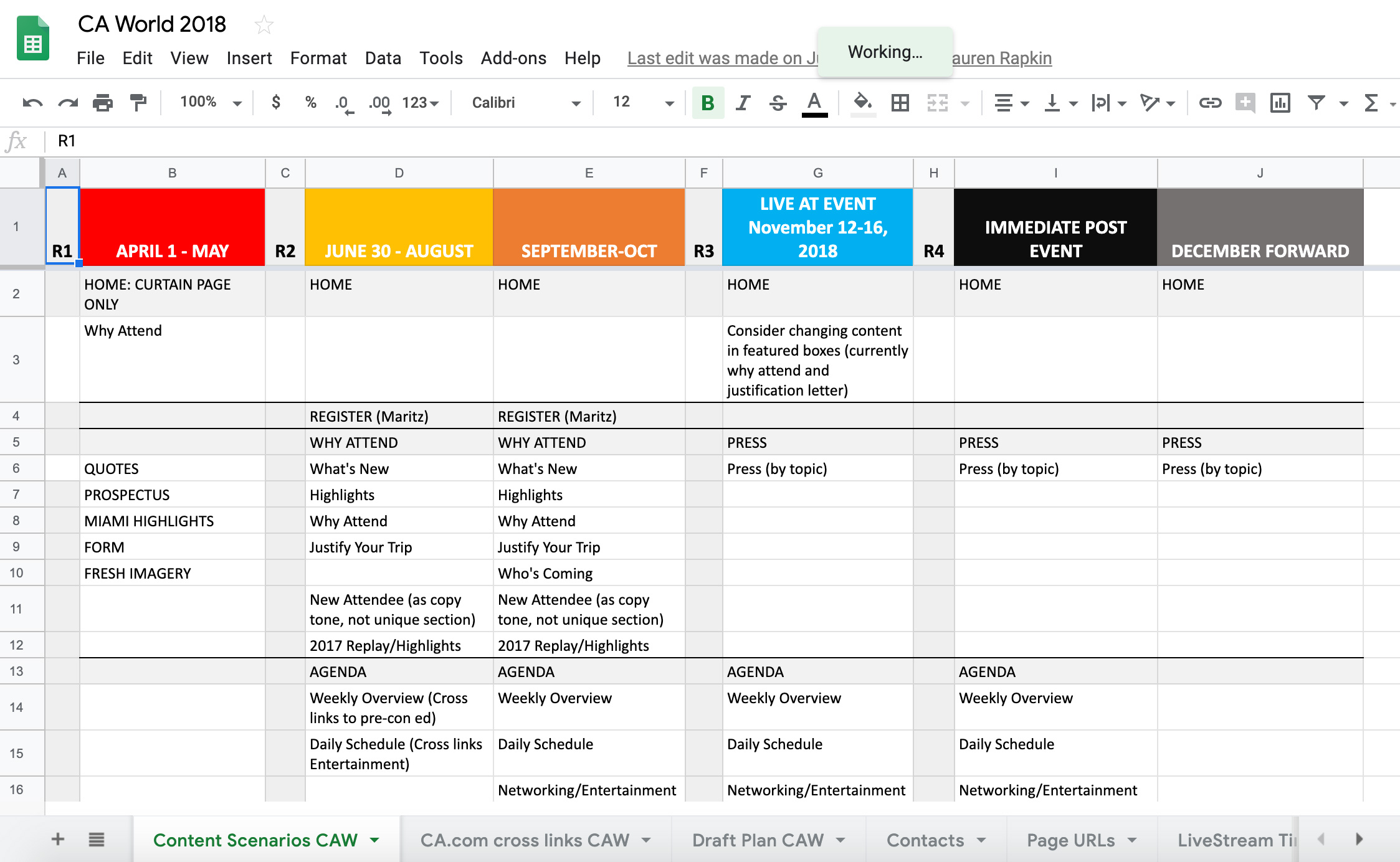 Periodic spreadsheet demonstrating IA and content planning for an upcoming event. This allowed pre-planning for UX, design, and navigation in advance of the live event.