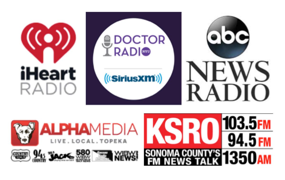 A sampling of radio placements for the STOP THE BLEED Day campaign.