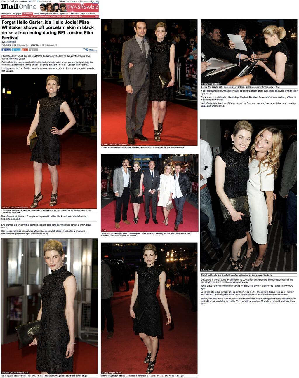 Jodie Whittaker wears Yanny at the BFI London Film Festival.