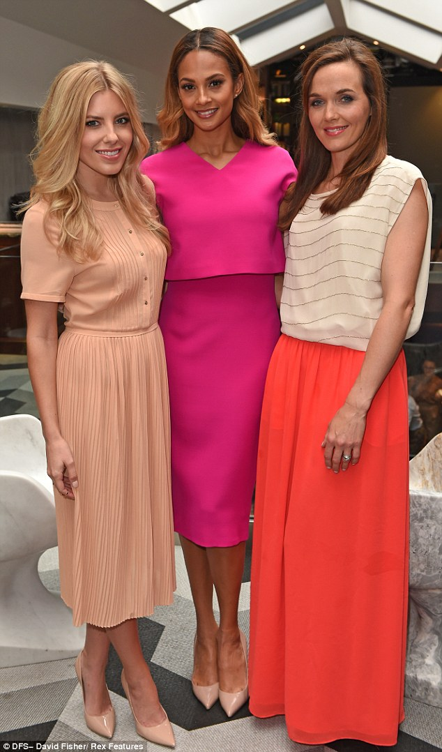 Mollie King wears Yanny with Alesha Dixon and Victoria Pendleton at the Galaxy RED launch.
